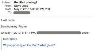 "<b>Steve Jobs</b> Says <b>Printing</b> ""Will Come"" for iPad - MacRumors"