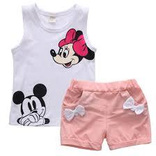 <b>Pudcoco Baby</b> Girl Summer Clothes Set 2 Piece Set <b>Cartoon</b> Minnie ...