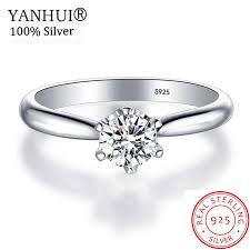 <b>YANHUI Original 925 Solid</b> Silver Rings Solitaire 1 Carat CZ ...