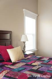 painting bedroom creamy mushroom walls no mess painting two purple couches