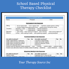 school based physical therapy checklist your therapy source school based physical therapy checklist