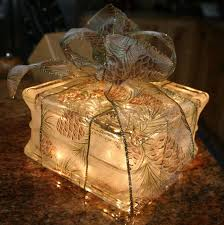 Image result for glass block lighted christmas present