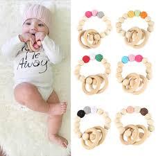 Handmade Natural <b>Wooden Baby</b> Teether <b>Bracelet</b> Crochet Beads ...