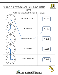 Time Worksheet O'clock, Quarter, and Half pastsecond grade math worksheets telling the time oclock half quarter 3