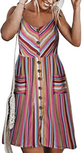 Angashion Women's Dresses-Summer <b>Floral</b> Bohemian Adjustable ...