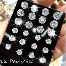 12 Pairs/Pack <b>AAA</b> Shiny Diamond <b>Crystal</b> Stud Earrings <b>Men</b> ...