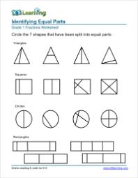 "1st Grade Fractions - Math Worksheets | K5 Learning""Equal parts"" worksheets Identifying equal parts - fractions worksheet"
