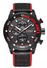 Buy <b>curren Curren 8250 Men</b> Red Black Dial Genuine Leather Strap ...