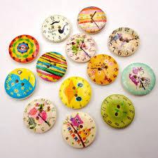 <b>50pcs 20mm</b> Mixed Round Pattern <b>2 Holes Wood</b> Buttons Sewing ...