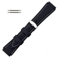 Black <b>20 mm Silicone</b> Watch Band <b>Sport</b> Strap with White Stitching