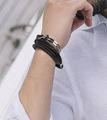 <b>Mens Bracelets</b> Silver <b>Stainless Steel</b> Leather Name ID <b>Bracelet</b> For ...