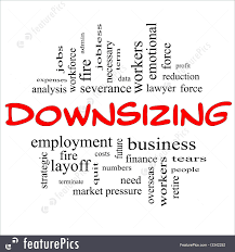 downsizing word cloud concept in red black illustration downsizing word cloud concept in red and black letters great terms such as fire layoff terminate severance and more