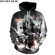 Skull Poker Hoodies Sweatshirts <b>Men Women 3D Pullover</b> Funny ...