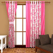 Buy Freehomestyle <b>Floral Polyester</b> Window Curtain - 5ft, <b>Pink</b> ...