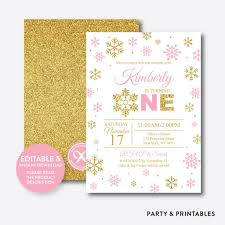 girl 1st birthday invitations party and printables gold pink winter onederland glitter kids birthday invitation editable instant gkb