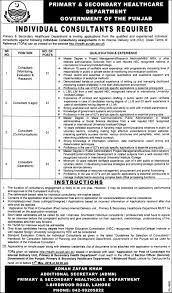 consultant jobs in punjab primary and secondary healthcare department