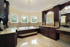 ideas bathroom tile color cream neutral: spacious bathroom that has a beautiful contrast of dark and light colors