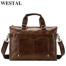 WESTAL <b>Genuine Leather bag Business</b> Men bags Laptop Tote ...