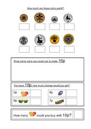 Money worksheets KS1- coin recognition, change and problem solving ...01 - 02.03.09 - Maths worksheet 1.doc