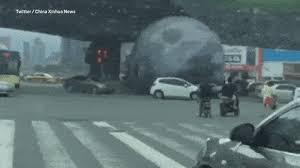 <b>Giant inflatable moon</b> on rampage in Fuzhou, China ahead of <b>Moon</b> ...