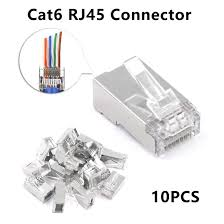 <b>10pcs</b> Cat6 RJ45 Connector 8P8C Modular Ethernet Cable Head ...