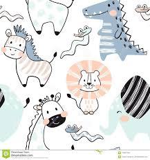 Lion, <b>Giraffe</b>, <b>Elephant</b>, <b>Crocodile</b>, <b>Zebra</b>, Snake Baby Seamless ...
