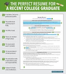 excellent resume for recent grad business insider perfect resume for a recent college graduate graphic