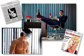 in hindsight an american psycho looks a lot like us the new clockwise from top right benjamin walker in a new broadway musical adaptation of ldquoamerican psychordquo a recent cover of the british weekly new statesman