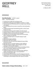 visual merchandiser resume sample   velvet jobsvisual merchandiser resume sample