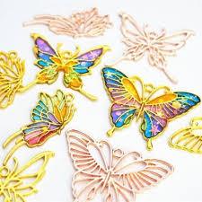 <b>3Pcs</b> Gold Butterfly <b>Metal</b> Frame Pendant Open Bezel Setting <b>UV</b> ...
