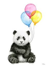 'Baby Panda Watercolor with <b>Balloons Nursery Animal</b> Art' Poster by ...