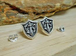 <b>925 Sterling Silver</b> Sword Shield Earrings, Handmade Knight Shield ...