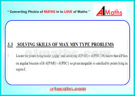 solving skills of max min type prob straight lines coordinate solving skills of max min type problems