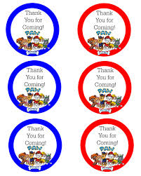 paw patrol birthday party printables delicate construction paw patrol thank you labels