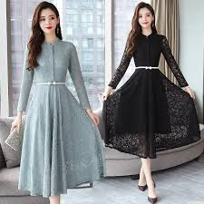 2019 Autumn Winter <b>New</b> 3XL Plus Size Vintage Lace Midi Dresses ...