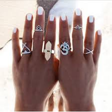 New <b>6pcs</b> Set Vintage Punk Ring Set <b>Hollow Antique Silver</b> Plated ...