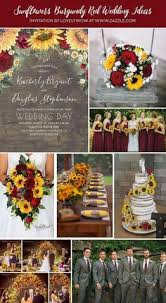 Fall wedding in burgundy red and <b>yellow</b>. Use: a cascading bouquet ...
