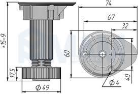 <b>1033 Ножка пластиковая с</b> базой, h=120 мм — Furnitura53
