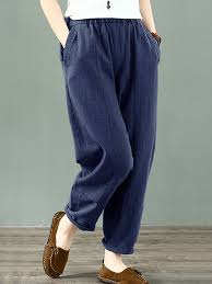 O-NEWE <b>Cotton</b> Solid Color Elastic Waist Plus <b>Size Casual</b> Pants ...