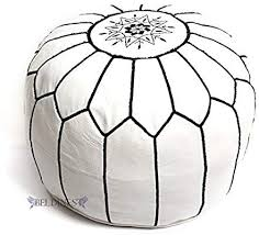 Stuffed Moroccan Ottoman White/<b>Black</b> Leather <b>Pouf Handmade</b> ...