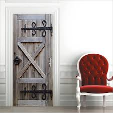 <b>New 3D Wall Art</b> Rustic Wood Barn Door Sticker PVC Decal Self ...