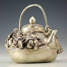 <b>Oriental Vintage Handwork</b> tibet silver <b>Carved</b> Immortal Archaic ...