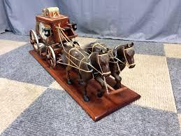 vintage wells fargo overland wood stagecoach clock banker s office prev