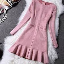 <b>Autumn Winter</b> Fashion Women Dress Long Sleeve Suede 2016 ...