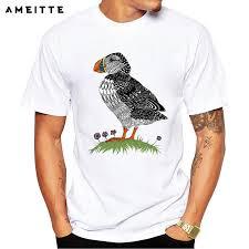 2019 AMEITTE <b>Fashion</b> Cute Puffin T Shirt Men's <b>Hipster Bird</b> ...