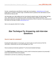 star technique for answering job interview questions from jobxra
