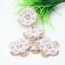 <b>10pcs Handmade Jute Hessian</b> Burlap Flower With Lace Rose Lace ...