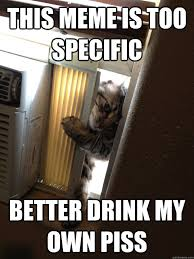 this meme is too specific better drink my own piss - Jehovah Cat ... via Relatably.com