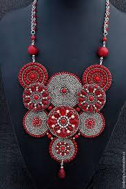 Купить <b>Колье</b> RED MOON - красный, бордовый, <b>серебристый</b> ...