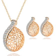 Sweet <b>Hollow Water</b> Drops <b>Crystal</b> Necklace Earrings Sets Bridal ...